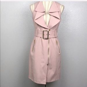Bebe Ruffle Collar Belted Trench Vest